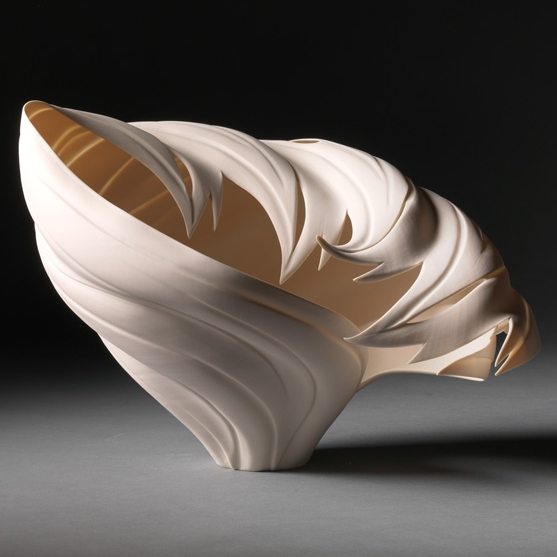 Jennifer McCurdy, Butterfly Antler Vessel, wheel thrown and altered porcelain