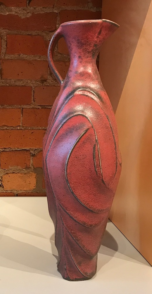 Jim Connell, Red Sand Blasted Carved Pitcher, stoneware, ceramic, pottery, functional, Sherrie Gallerie