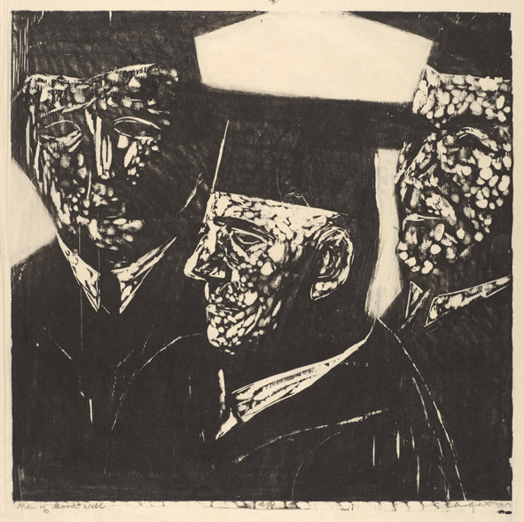 Sid Chafetz, Men of Goodwill, woodcut, printmaking, Ohio State University, Sherrie Gallerie