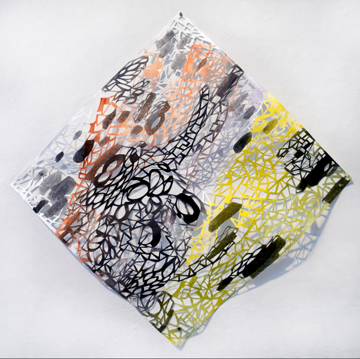 Leah Wong,  Green Edge , ink acrylic, hand cut Tyvek paper, painting, abstract, geometric, Sherrie Gallerie