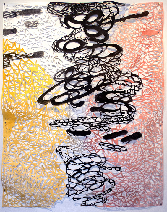 Leah Wong,  Division of Time , ink acrylic, hand cut Tyvek paper, painting, abstract, geometric, Sherrie Gallerie