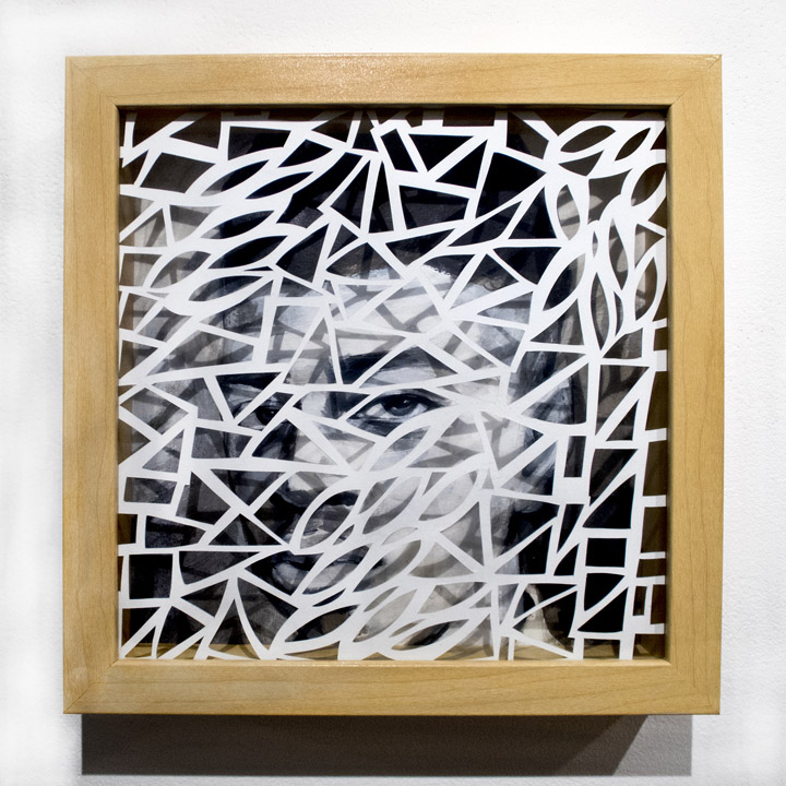 Leah Wong,  Dialogue 1 , ink acrylic, hand cut Tyvek paper, painting, abstract, geometric, Sherrie Gallerie
