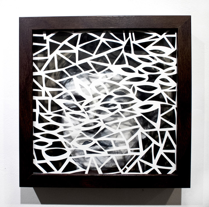 Leah Wong,  Dialogue 2 , ink acrylic, hand cut Tyvek paper, painting, abstract, geometric, Sherrie Gallerie