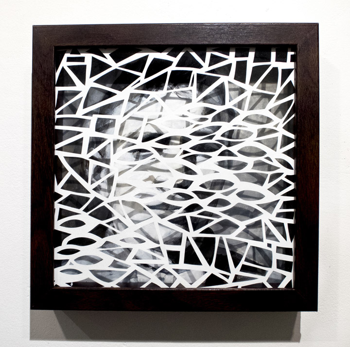 Leah Wong,  Dialogue 4 , ink acrylic, hand cut Tyvek paper, painting, abstract, geometric, Sherrie Gallerie