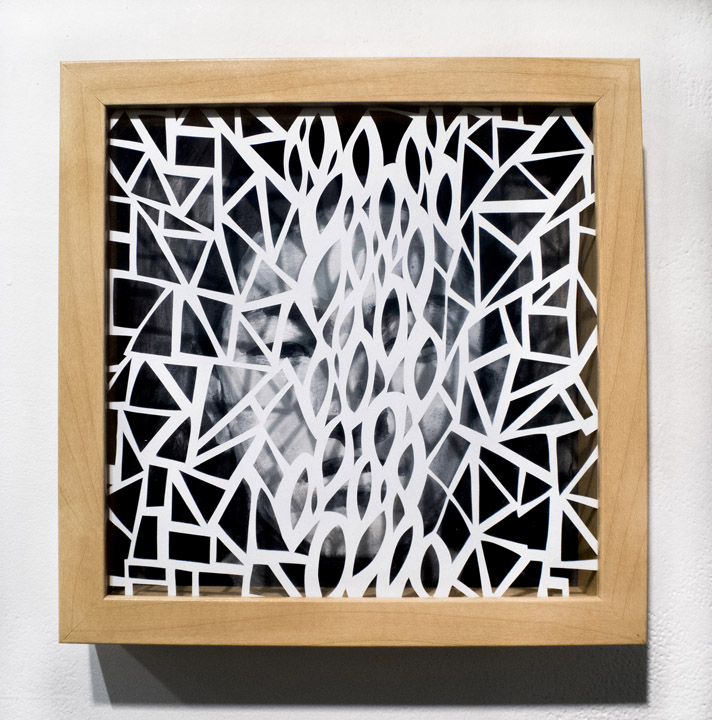 Leah Wong,  Dialogue 5 , ink acrylic, hand cut Tyvek paper, painting, abstract, geometric, Sherrie Gallerie
