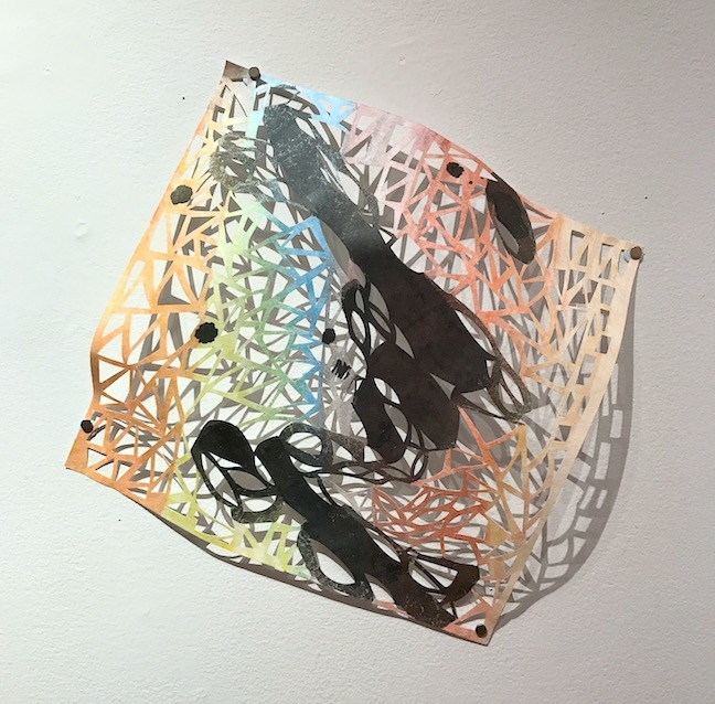 Leah Wong, River's Edge 4 , ink, acrylic, hand-cut Tyvek paper, painting, abstract, geometric, Sherrie Gallerie