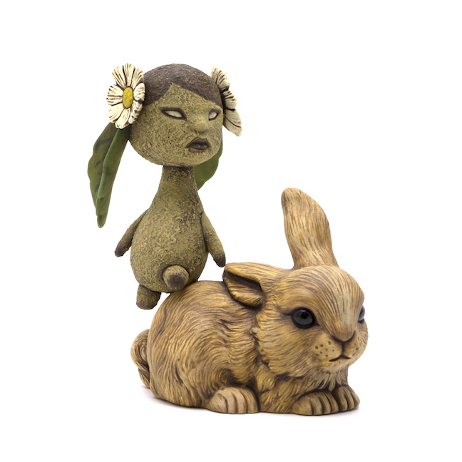 Calvin Ma,  Listening , ceramic, glaze, figurative, sculpture, animal, bunny, Sherrie Gallerie