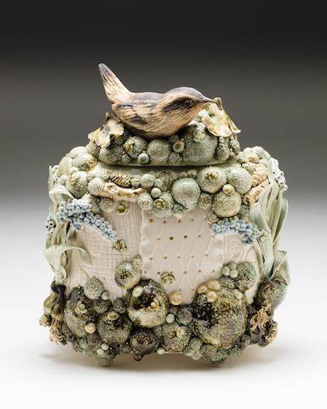 Claire Prenton, Wren with Spring Bulbs , porcelain, ceramic, sculpture, vessel, vase, Sherrie Gallerie
