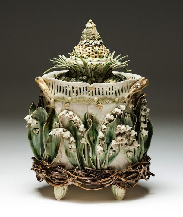 Claire Prenton,  Lily of the Valley Lidded Container , porcelain, ceramics, sculpture, vessel, Sherrie Gallerie