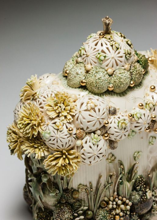 Claire Prenton,  Dandelion Lidded Container , porcelain, ceramic, vessel, sculpture, vase, Sherrie Gallerie