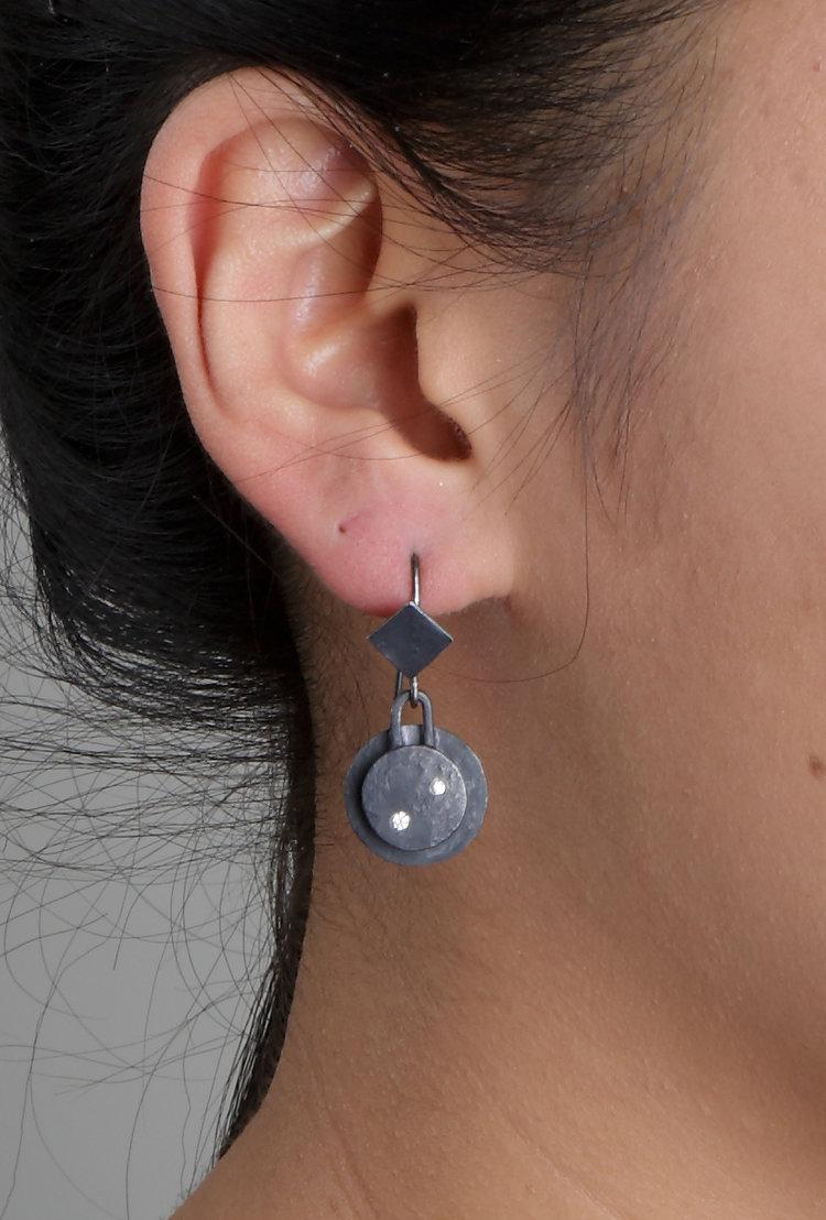 Biba Schutz, Art Jewelry, Earrings, silver, diamonds,Studs, Dangle, Sherrie Gallerie