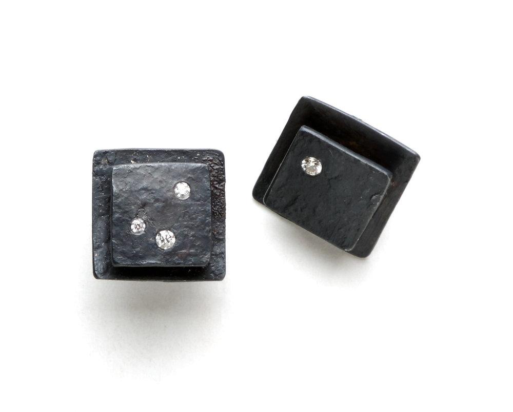 Biba Schutz, Art Jewelry, Earrings, silver, diamonds,Studs, Wearable, Sherrie Gallerie