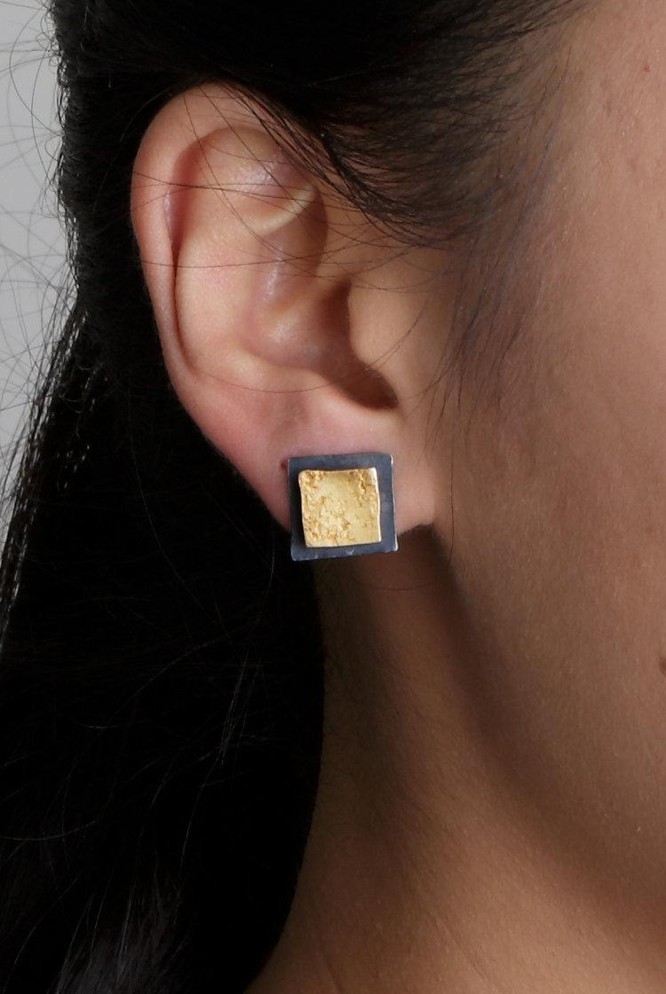 Biba Schutz, Art Jewelry, Earrings, silver, gold,Studs, Wearable, Sherrie Gallerie
