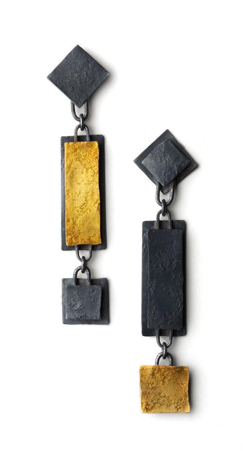 Biba Schutz, Art Jewelry, Earrings, silver, gold,Studs, Dangle, Sherrie Gallerie