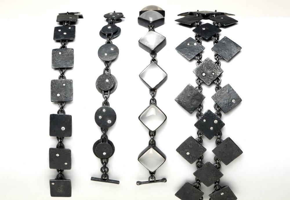 Biba Schutz, Art Jewelry, Bracelet, Silver, Diamonds, Moonstone, Square, Chain, Wearable, Sherrie Gallerie