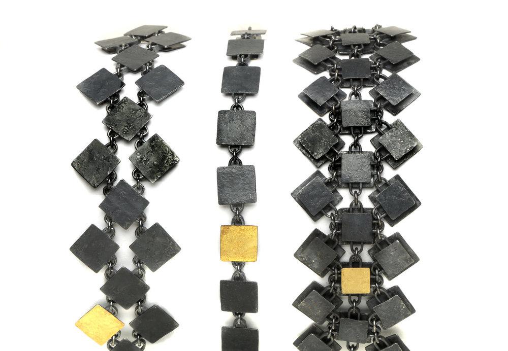Biba Schutz, Art Jewelry, Bracelet, Silver, Gold, Square, Chain, Wearable, Sherrie Gallerie