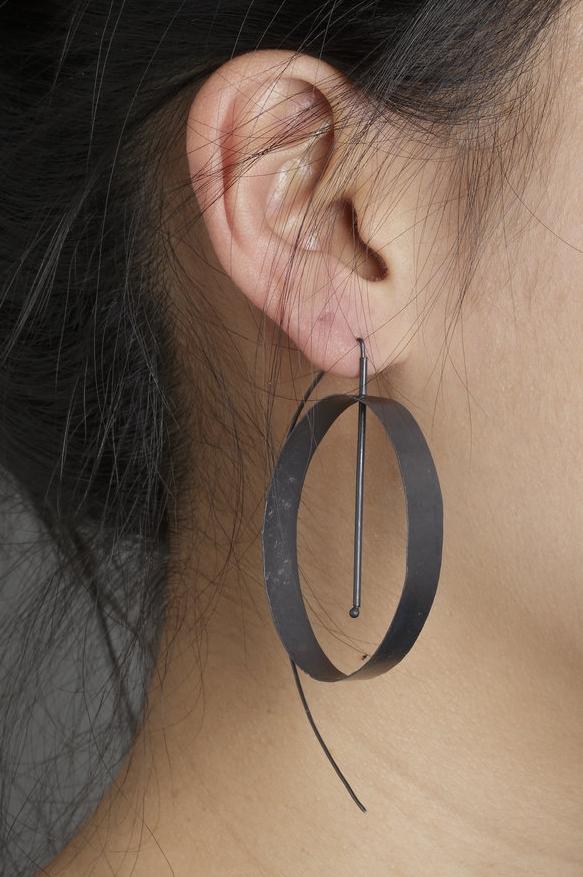 Biba Schutz, Art Jewelry, Earrings, silver, hoop, Dangle, Sherrie Gallerie