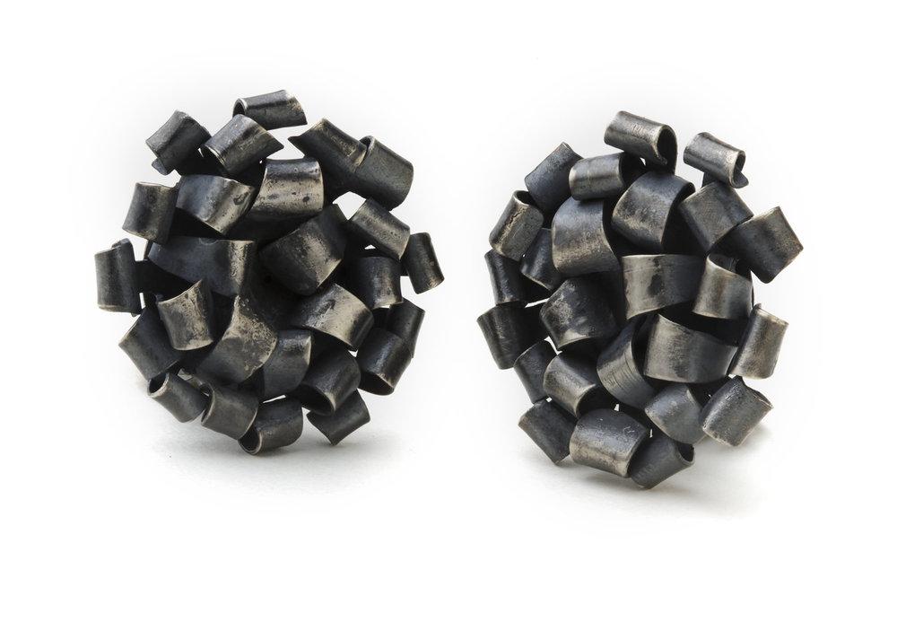 Biba Schutz, Art Jewelry, Earrings, silver, stud, clip, Sherrie Gallerie
