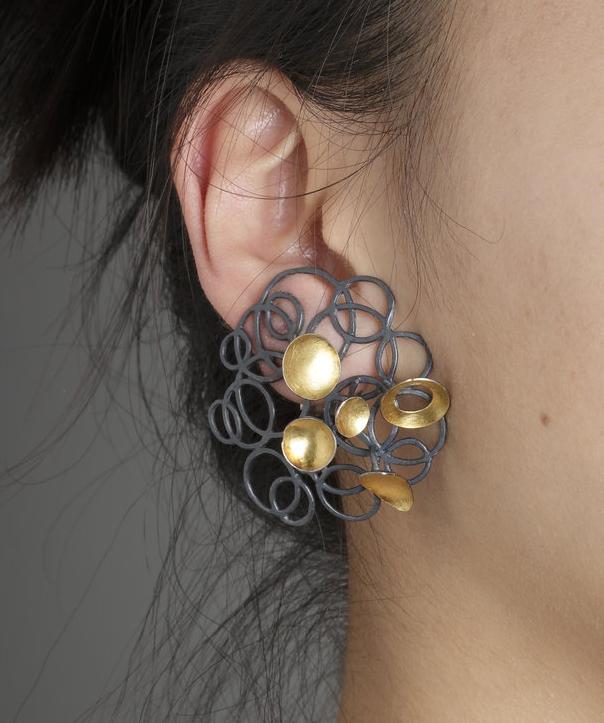 Biba Schutz, Art Jewelry, Earrings, Silver, gold, studs, Sherrie Gallerie