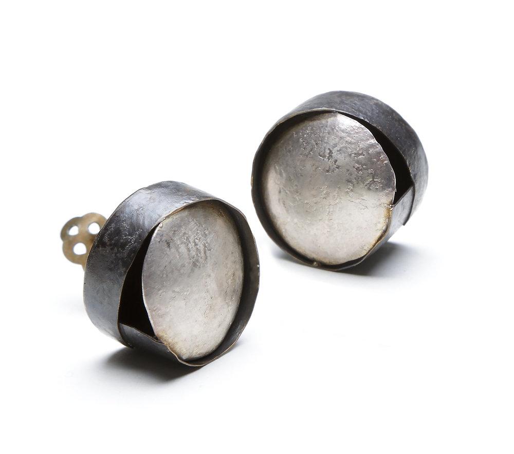 Biba Schutz,Art Jewelry, Earrings, Bronze, Silver, Studs, Circles Sherrie Gallerie