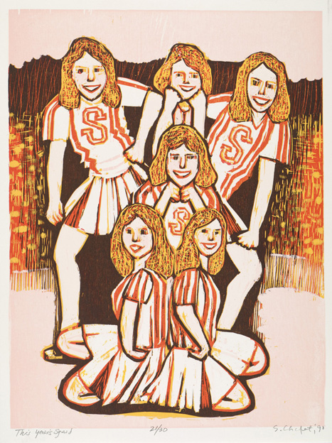 Sid Chafetz, This Years Squad, woodcut, print, printmaking, portrait, Ohio State University, postwar, midcentury, Sherrie Gallerie