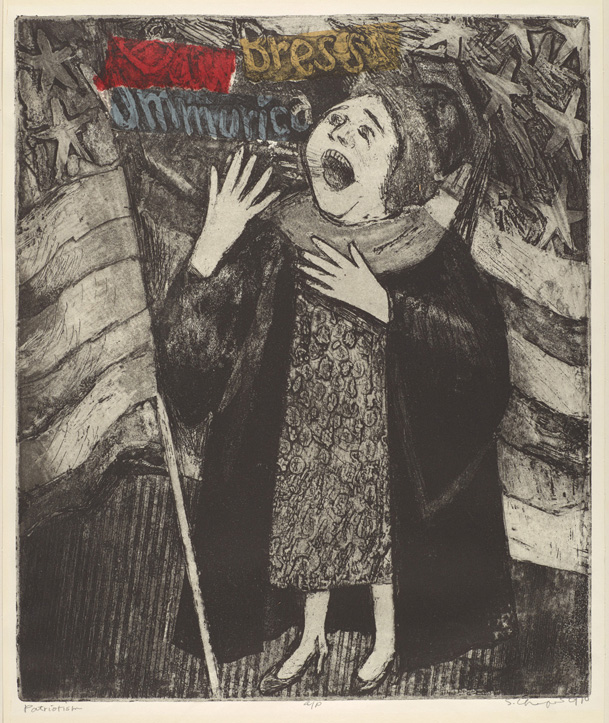 Sid Chafetz, Patriotism, etching, print, printmaking, portrait, postwar, midcentury, Sherrie Gallerie