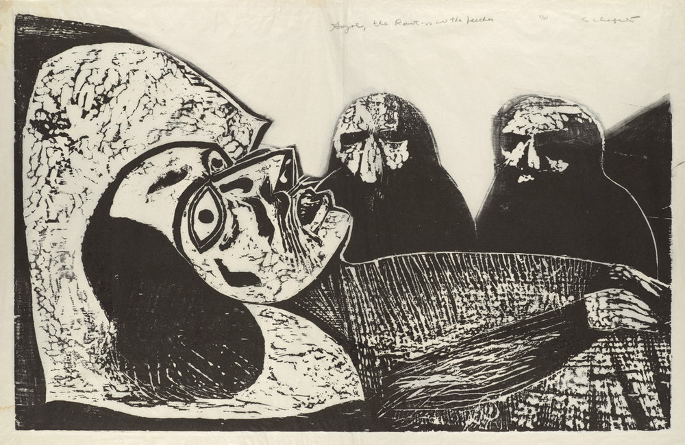 Sid Chafetz,  Gogol, the Doctors, and the Leeches , woodcut, print, printmaking, portrait, postwar, midcentury, Sherrie Gallerie