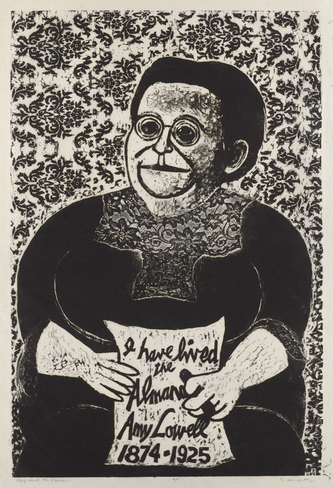 Sid Chafetz,  Amy Lived the Almanac, woodcut , print, printmaking, portrait, postwar, midcentury, Sherrie Gallerie