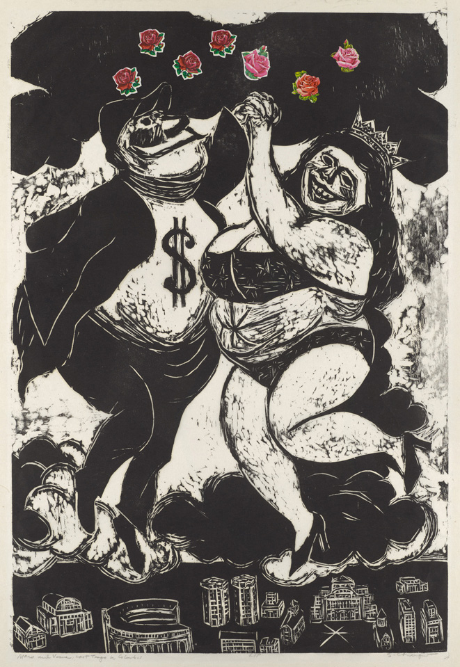 Sid Chafetz, Mars and Venus Last Tango in Columbus, woodcut, print, printmaking, Ohio State University, Sherrie Gallerie