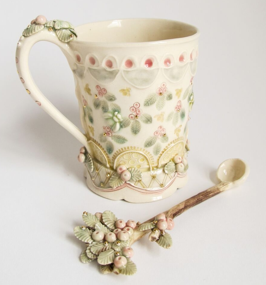 Claire Prenton, Pink Berry Cup and Spoon, porcelain, gold luster, ceramic, functional, decorative, nature, Sherrie Gallerie