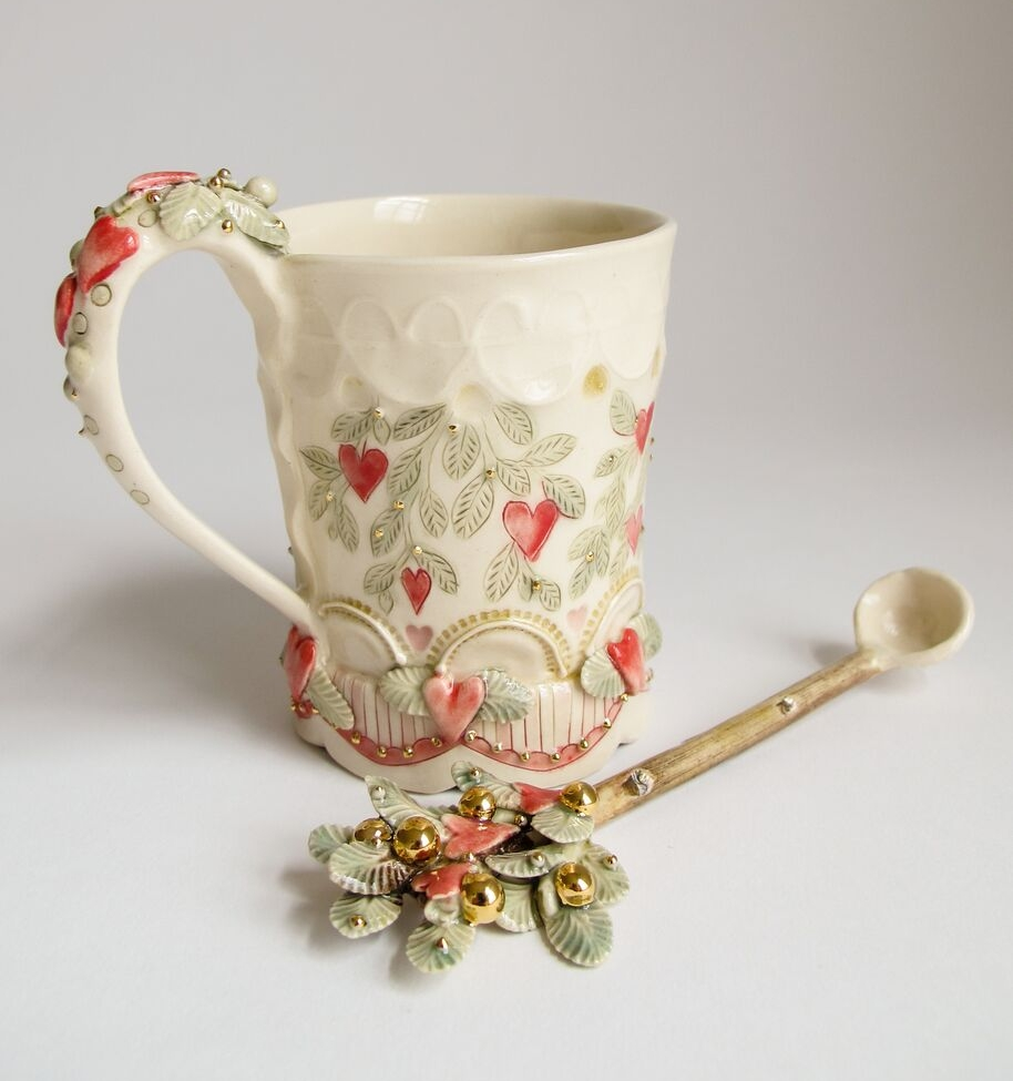 Claire Prenton, Heart Cup and Spoon, porcelain, gold luster, ceramic, functional, decorative, nature, Sherrie Gallerie