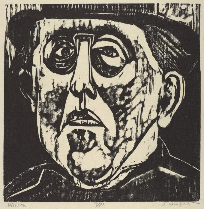 Sid Chafetz, Woodrow Wilson, woodcut, printmaking, print, portrait, midcentury, 1955, Sherrie Gallerie
