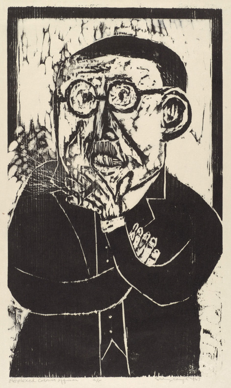 Sid Chafetz, Perplexed Cabinet Officer, woodcut, print, printmaking, midcentury, portrait, politician, 1967, Sherrie Gallerie