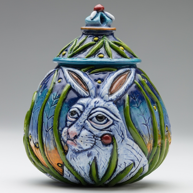 Julie Woodrow bunny ceramic jar clay functional pottery carving glaze carved Sherrie Gallerie