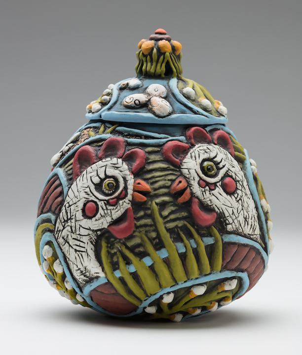 Julie Woodrow hand carved ceramic chicken jar clay pottery functional Sherrie Gallerie Columbus Ohio Short North Art Gallery