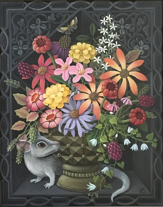 Laine Bachman Bouquet with Ermine painting acrylic canvas still life floral flowers animal Sherrie Gallerie
