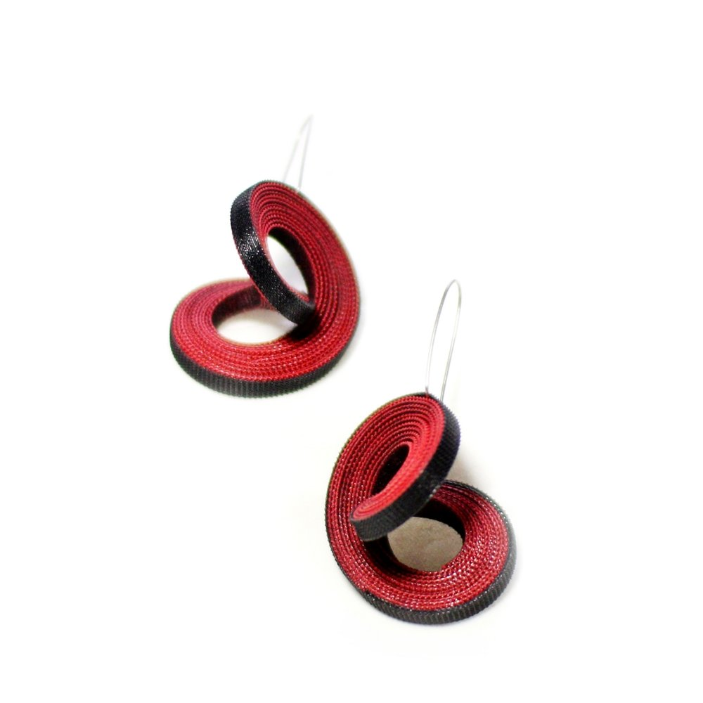 Yong Joo Kim Earring velcro hook and loop fastener art jewelry Sherrie Gallerie