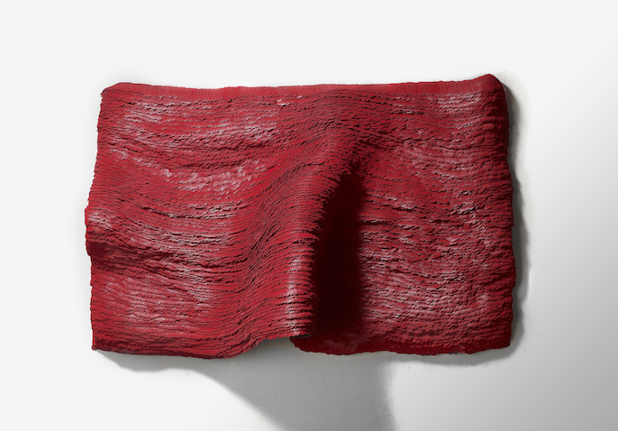 Yong Joo Kim Wall Piece Installation Red velcro hook and loop fastener tapestry texture feather abstract Sherrie Gallerie