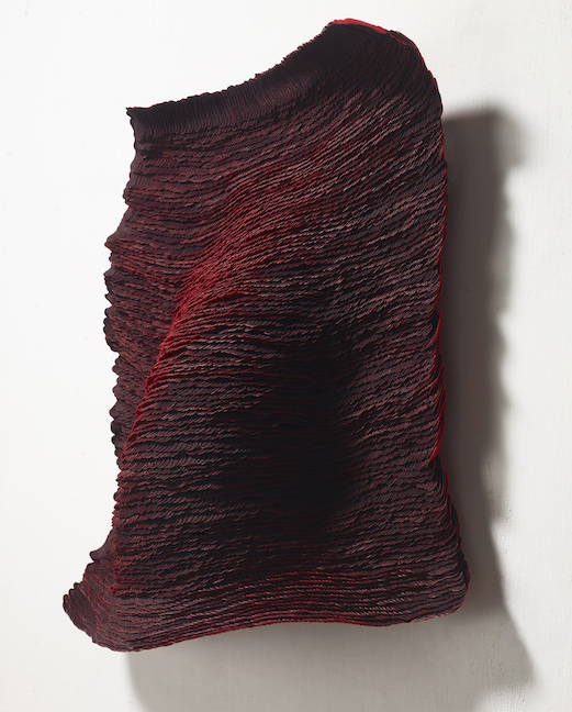 Yong Joo Kim Wall Piece Installation Red Black velcro hook and loop fastener feather texture organic painting sculpture abstract Sherrie Gallerie