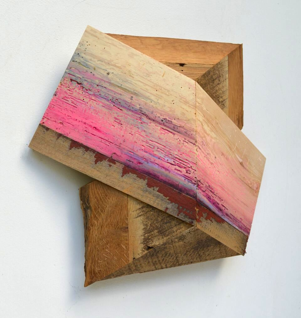 Melinda Rosenberg Columbus Artist Board Series wall sculpture paint found object reclaimed wood Sherrie Gallerie Short North Art Gallery