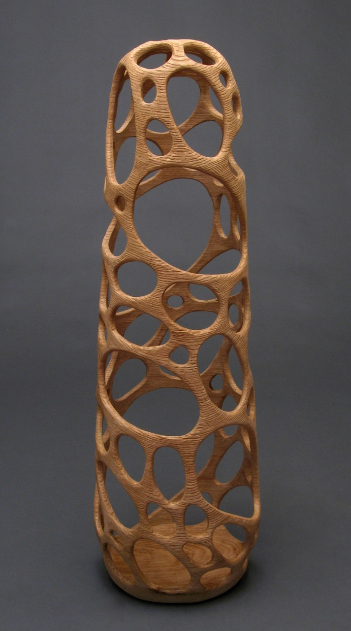 Michael Bauermeister wood sculpture vessels natural oak hollow tall figure Sherrie Gallerie Short North Columbus Ohio Art Gallery
