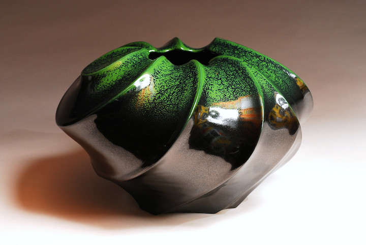 Jim Connell ceramics thrown carved pottery functional glaze shell vessel pot vase Sherrie Gallerie Short North Art Gallery