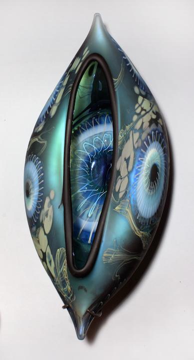 William Ortman Iris Blue Orion Vessel wall piece blown art glass sculpture vase murrini murrine Sherrie Gallerie Short North Arts District Art Gallery Columbus Ohio