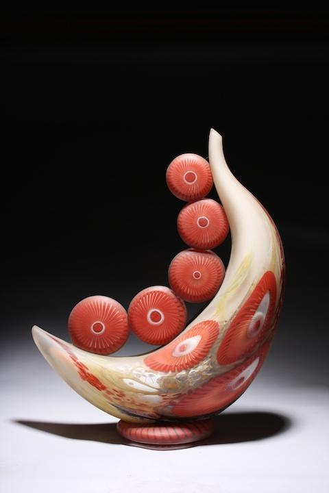 William Ortman Crimson Alkali Celestial Moon crescent blown art glass sculpture vase murrini murrine Sherrie Gallerie Short North Arts District Art Gallery Columbus Ohio