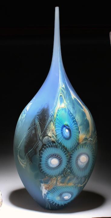 William Ortman Arctic Glacier Teardrop blown art glass sculpture vase murrini murrine Sherrie Gallerie Short North Arts District Art Gallery Columbus Ohio
