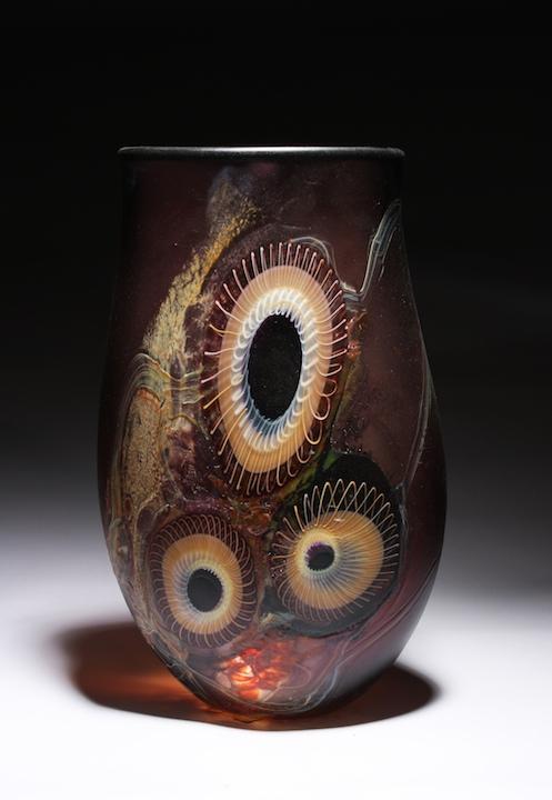 William Ortman Red Amber Alkali Vessel blown art glass sculpture vase murrini murrine Sherrie Gallerie Short North Arts District Art Gallery Columbus Ohio
