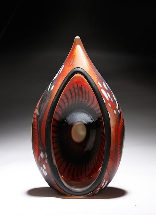 William Ortman Crimson Tribal Portal blown art glass sculpture vase murrini murrine Sherrie Gallerie Short North Arts District Art Gallery Columbus Ohio