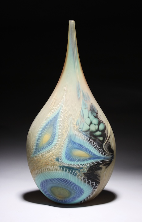 William Ortman Celadon Opal Teardrop blown art glass sculpture vase murrini murrine Sherrie Gallerie Short North Arts District Art Gallery Columbus Ohio