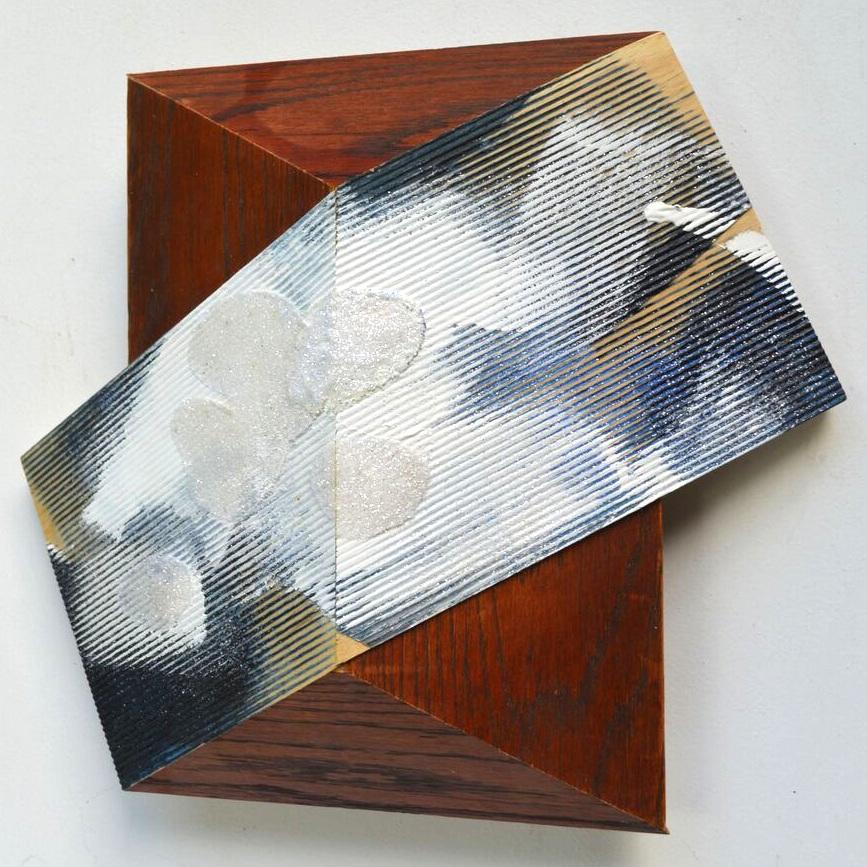 Melinda Rosenberg, X Series, paint and dye on reclaimed wood, wall sculpture, painting, Sherrie Gallerie