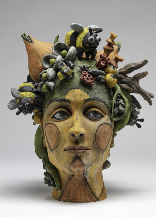 Julie Woodrow figurative female flowers bees head nature carved ceramic clay sculpture contemporary Sherrie Gallerie Short North Art Gallery Columbus Ohio
